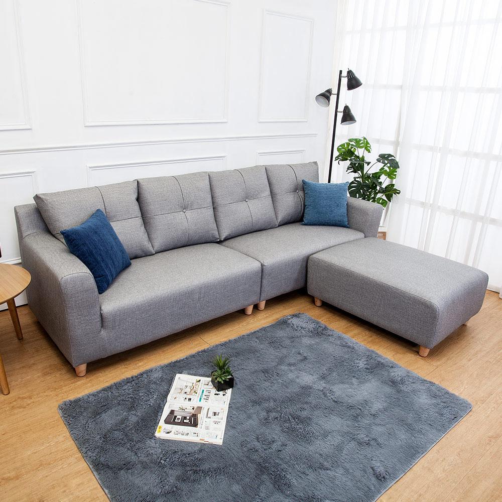 Boden-班森L型灰色貓抓布紋皮沙發(四人座+腳椅)(送抱枕)