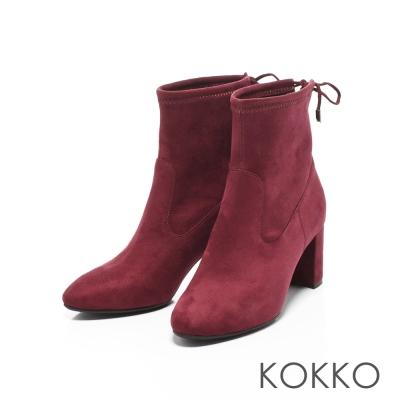 KOKKO- 冬日印象微尖頭粗跟後綁帶襪靴-高雅紅