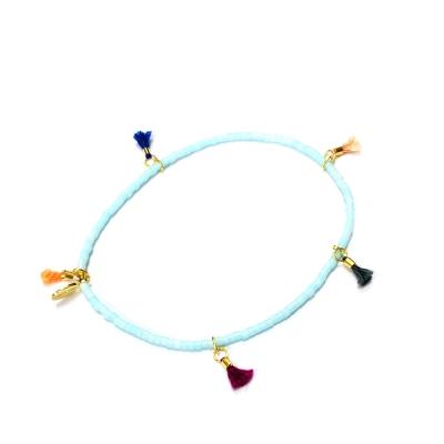 SHASHI Morgan Light Blue 微顆粒珠珠 流蘇手鍊 珍珠藍 彈性手圍