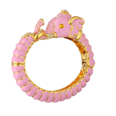 Kenneth Jay Lane 好萊塢巨星最愛 大象手環 粉紅色 鑲水晶華麗搪瓷
