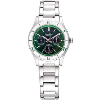 Roven Dino時尚玩色藍寶石水晶鏡面鋼帶腕錶-綠色35mm