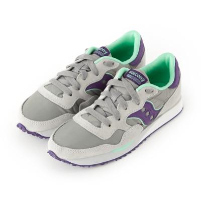 (女) 美國 SAUCONY 經典時尚休閒輕量慢跑球鞋-灰紫