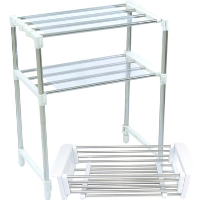 不鏽鋼伸縮置物架+伸縮瀝水籃