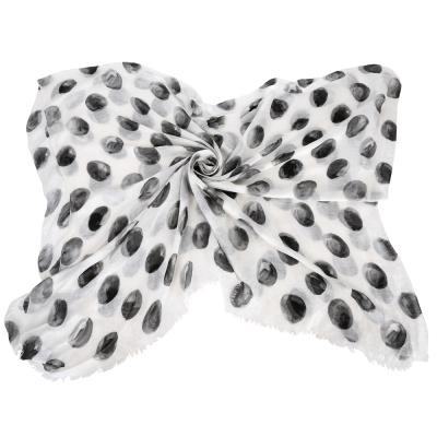 DOLCE & GABBANA 渲染圓點圍巾(白x黑灰色)