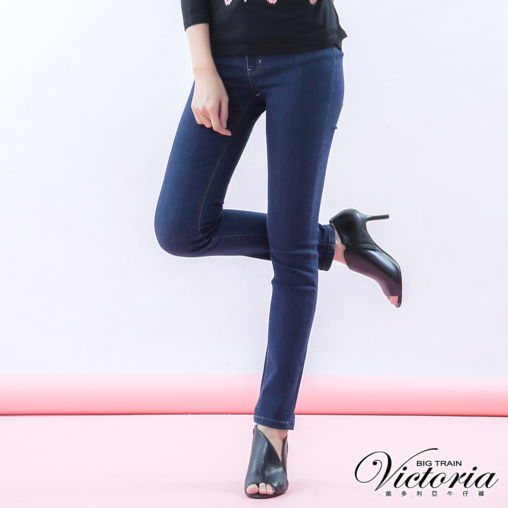 Victoria 高腰剪接繡花九分褲-女-深藍