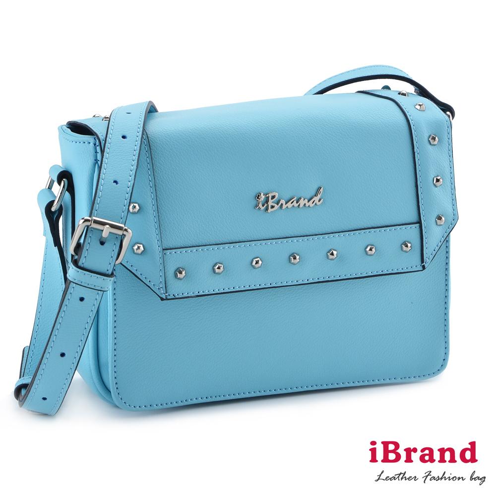 iBrand真皮 韓系時尚鉚釘個性小方包 天空藍