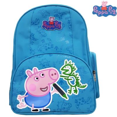 【Peppa Pig 粉紅豬】佩佩豬-喬治護脊書包302C(天空藍_恐龍款_PP-5746
