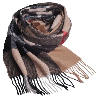 BURBERRY 經典大方格紋喀什米爾羊毛披肩/圍巾(駝色/大)