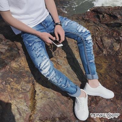 Monkey Shop 韓版修身刷色小破壞抽鬚單寧牛仔褲