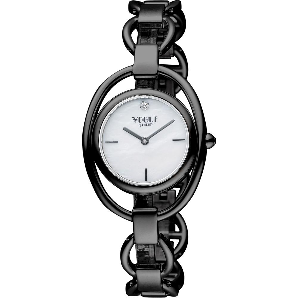 VOGUE Tornabuoni 馬銜鍊手鍊錶-天然珍珠貝xIP黑/30mm