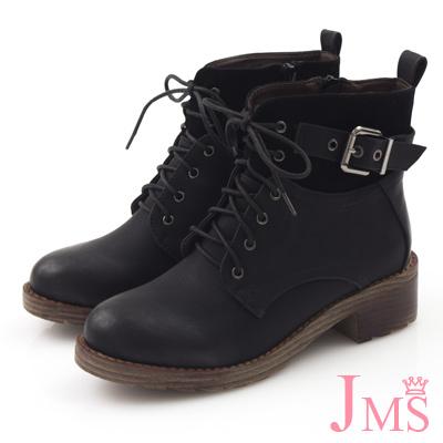 JMS-帥氣男友款異材質拼接搭扣綁帶短靴-黑色