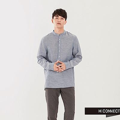 H:CONNECT 韓國品牌 男裝 - 亨利領亞麻襯衫-灰藍