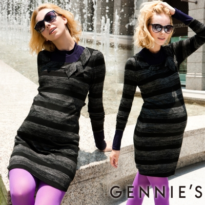 Gennies奇妮-Faravani系列-層次感條紋秋冬孕婦洋裝(C1202)-條紋黑