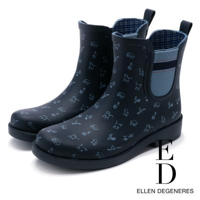 ED Ellen DeGeneres 俏皮防水橡膠中筒雨靴-藍色