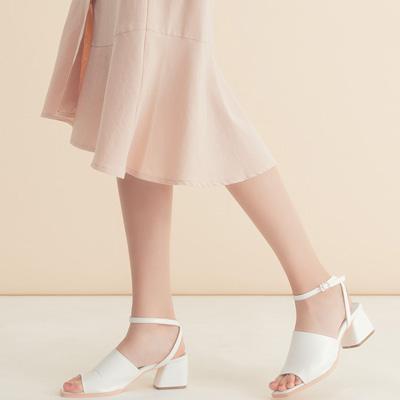 AIR SPACE 繫踝寬帶粗跟涼鞋(白)