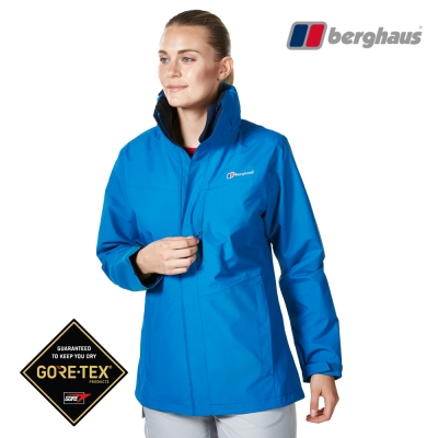 【Berghaus貝豪斯】女款GT防水透氣連帽外套H22FS7愛琴海藍