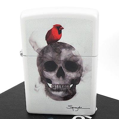 ZIPPO 美系~火焰藝術家Spazuk-骷髏與鳥圖案打火機