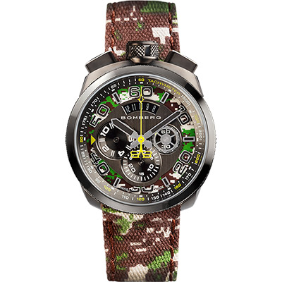 BOMBERG 炸彈錶 BOLT-68 CAMO KHAKI 軍事計時手錶-45mm