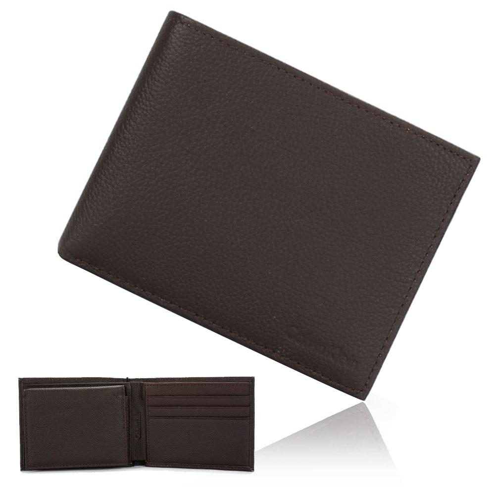 Calvin Klein 荔枝壓紋LOGO短夾鑰匙圈禮盒-咖啡色