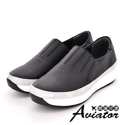 Aviator*韓國空運-正韓製簡約壓紋切割增高休閒鞋-黑