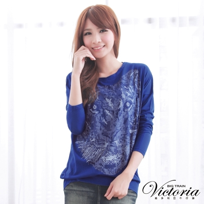 Victoria 發泡印染老虎針織上衣-女-藍色