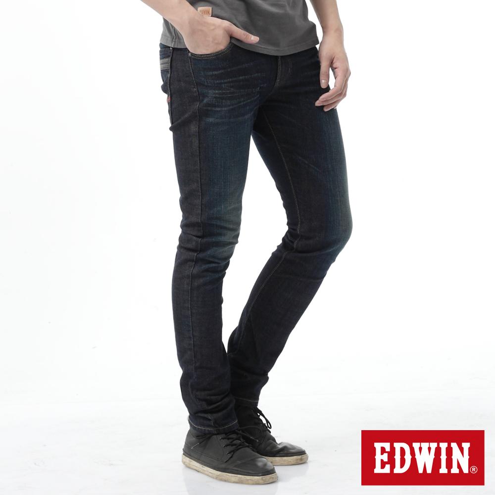 EDWIN 窄直筒 EG雙層斜袋牛仔褲-男-中古藍