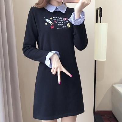 中大尺碼 藍色條紋領拼接火箭字母刺繡荷葉袖洋裝XL~4L-Ballet Dolly