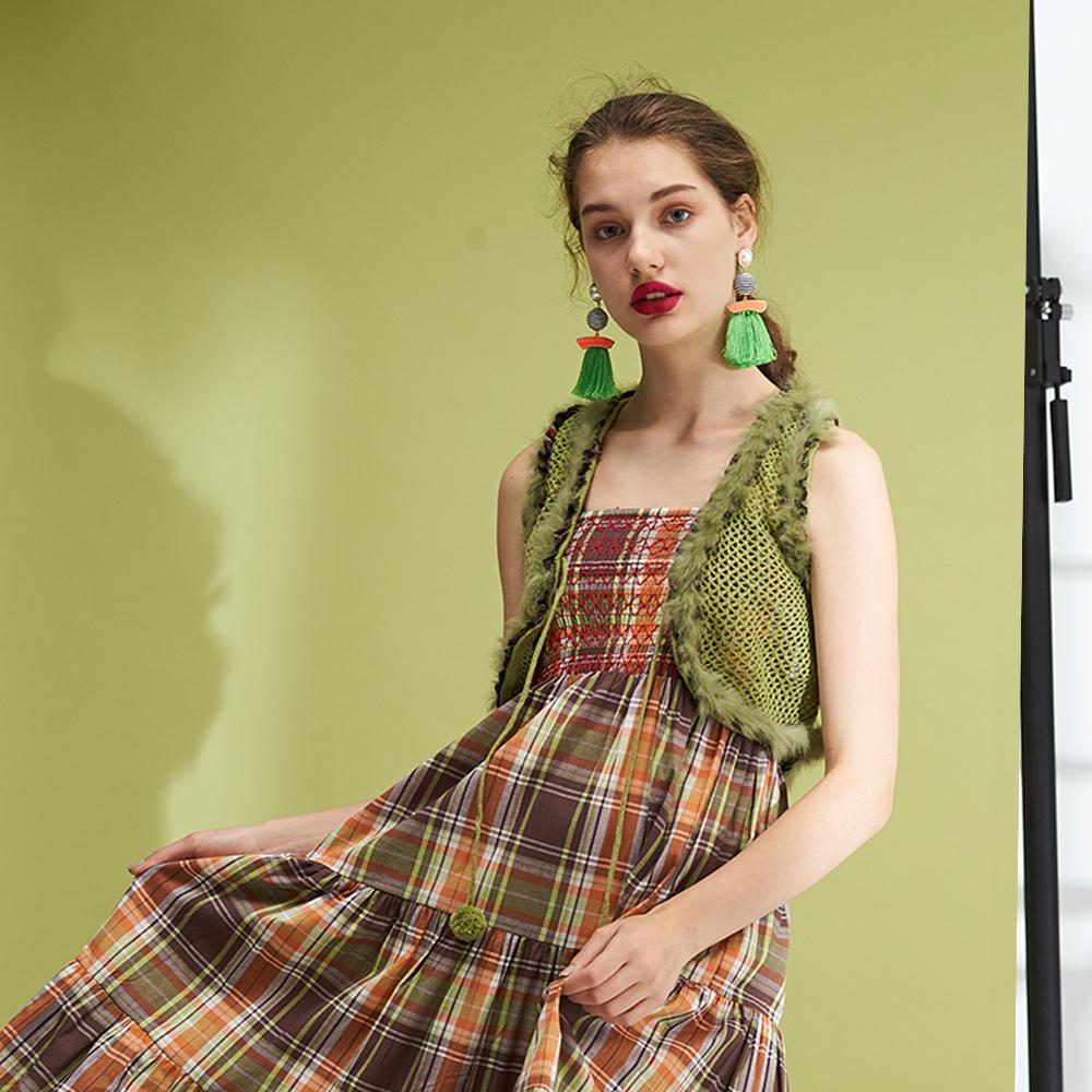 微甜毛領短版穿搭必備百搭造型開襟背心-綠(4色)