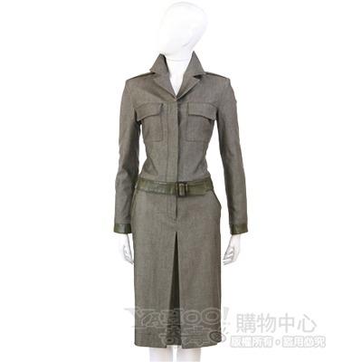 ALMA 綠色拼接皮革西裝外套