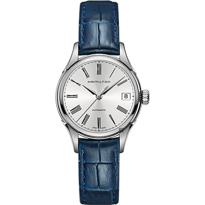 Hamilton漢米爾頓 AMERICAN CLASSIC 羅馬機械錶-銀x藍/34mm