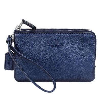 COACH星空藍荔枝紋全皮雙層萬用手拿包