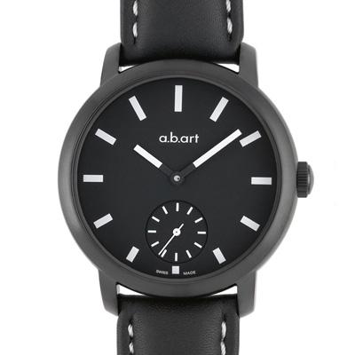 a.b.art MM系列 夜光手上鍊動力儲存機械腕錶-黑/46.5mm