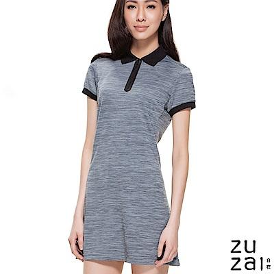 zuzai 自在親膚舒涼短袖POLO洋裝-女-中灰色