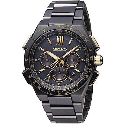 SEIKO 精工 Brightz 太陽能電波限量腕錶(SAGA212J)黑/42mm