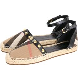 BURBERRY HOUSE 格紋拼接鉚釘皮革草編涼鞋(黑色)