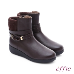 effie 混搭美型 異材質拼接編織扣帶輕量短靴 咖啡色
