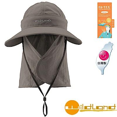 【荒野 WildLand】中性抗UV可脫式遮陽護頸帽.休閒帽_深卡灰