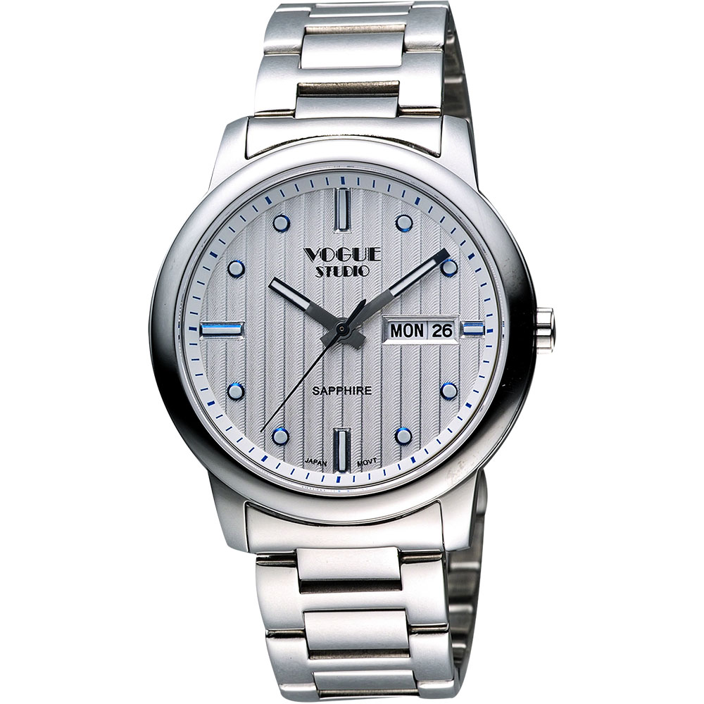 VOGUE 時尚藍寶石水晶日期腕錶-銀/40mm