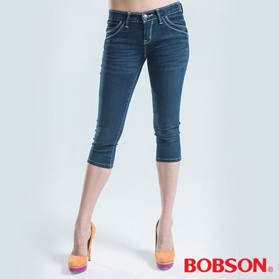 BOBSON 彩線伸縮七分褲-藍色