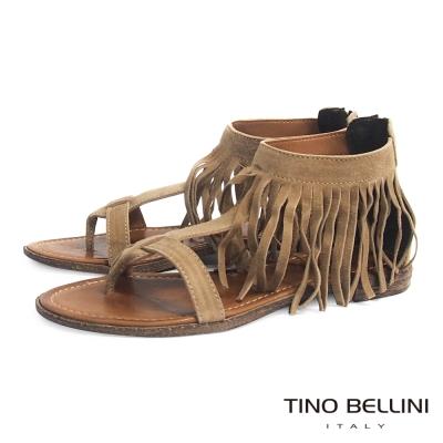 Tino Bellini 義大利進口不羈流蘇夾腳平底涼鞋_駝