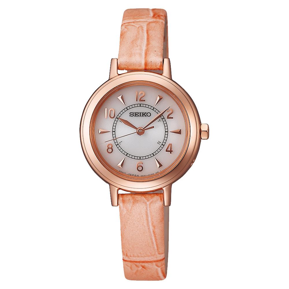 SEIKO 都會仕女太陽能電波腕錶(SWFT014J)-白x玫瑰金框粉橘錶帶/27mm