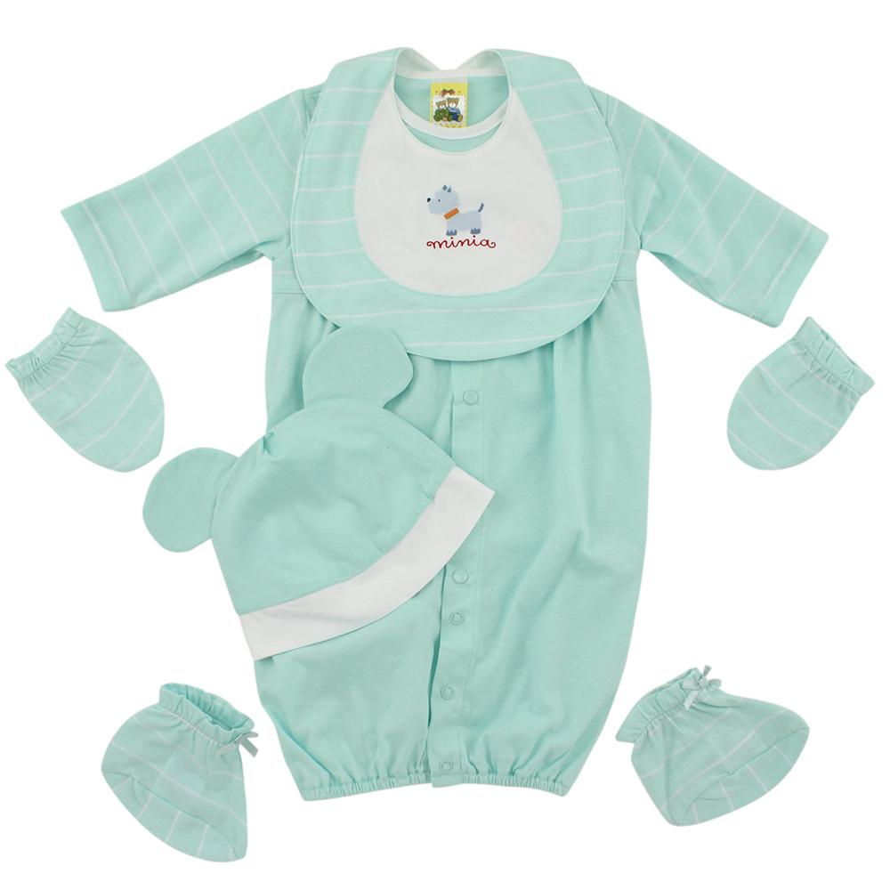 愛的世界 MYBABY 純棉耳帽長袖兩用嬰衣5件組禮盒/3~6M