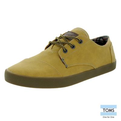 TOMS 皮革款綁帶休閒鞋-男款(黃褐)