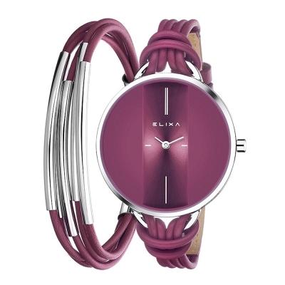 ELIXA  Finesse精巧時間皮繩系列X手環組合 紫紅色38mm