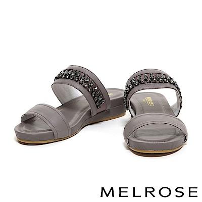 拖鞋 MELROSE 閃耀水鑽排列設計羊皮拖鞋-米