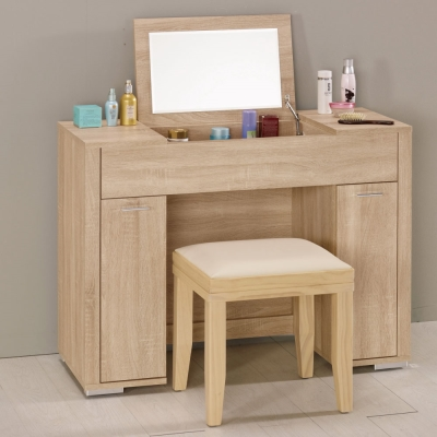 品家居 葛瑞絲3.3尺掀式化妝鏡台含椅-100x40x75.5cm-免組