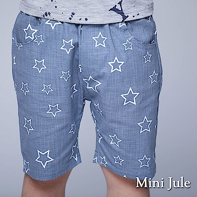 Mini Jule 童裝-短褲 框線星星雙口袋鬆緊短褲(藍)