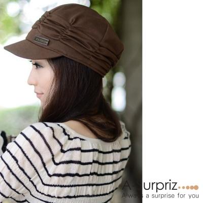 A-Surpriz 優雅皺褶貝蕾帽(品味咖)