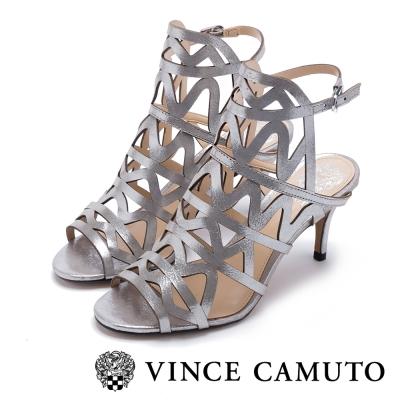 VINCE CAMUTO 典雅時尚 繞踝波浪紋高跟涼鞋-錫色