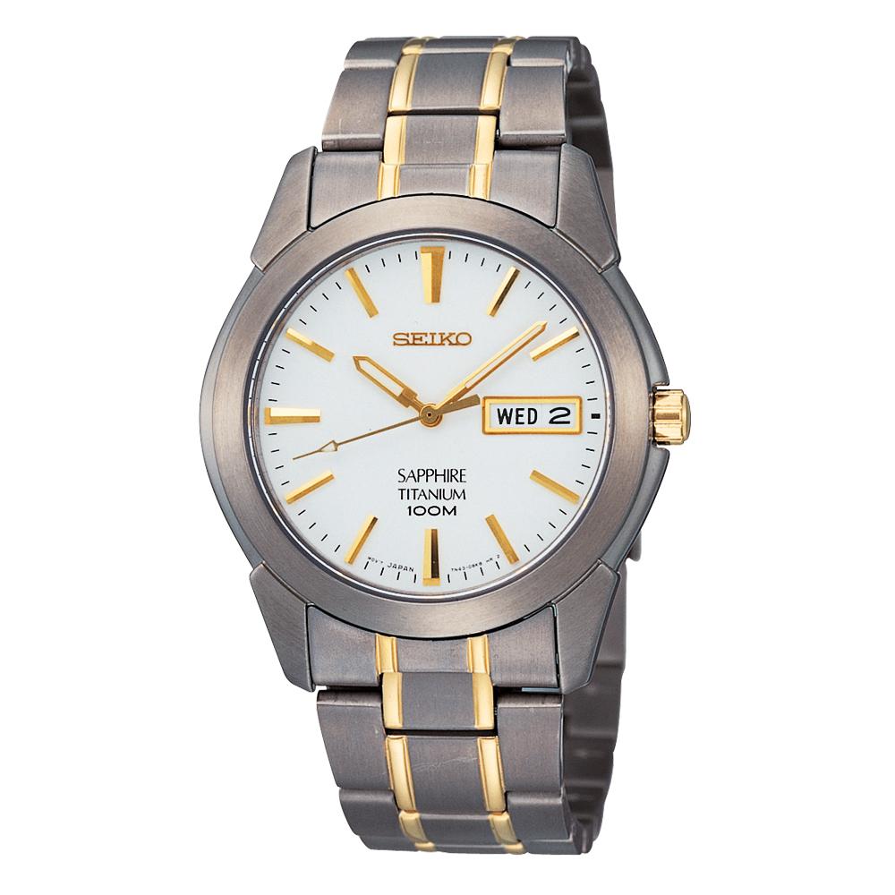 SEIKO 【鈦】經典時尚腕錶(SGG733P1)-白x雙色版/38mm